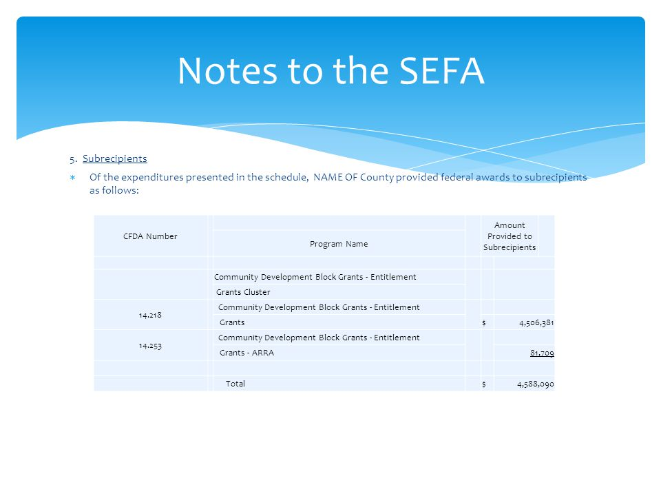 5. Subrecipients  Of the expenditures presented in the schedule, NAME OF County provided federal awards to subrecipients as follows: Notes to the SEF