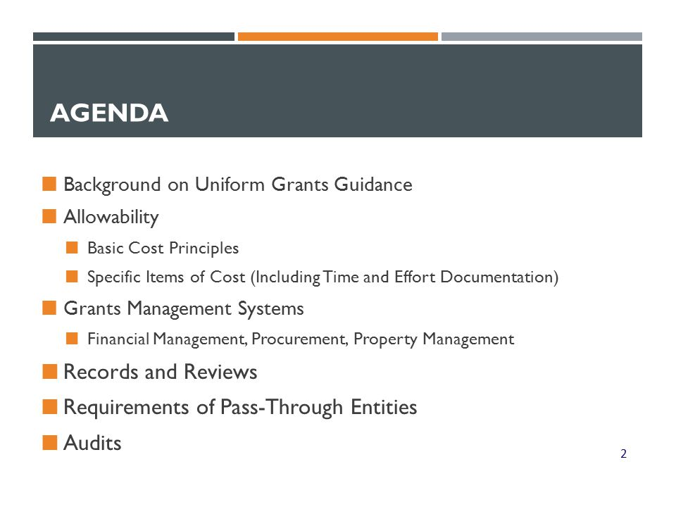 THE UNIFORM GRANTS GUIDANCE: WHAT IS COVERED.