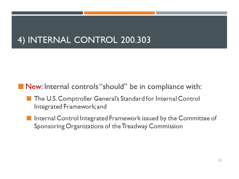 "4) INTERNAL CONTROL 200.303 New: Internal controls ""should"" be in compliance with: The U.S. Comptroller General's Standard for Internal Control Integr"