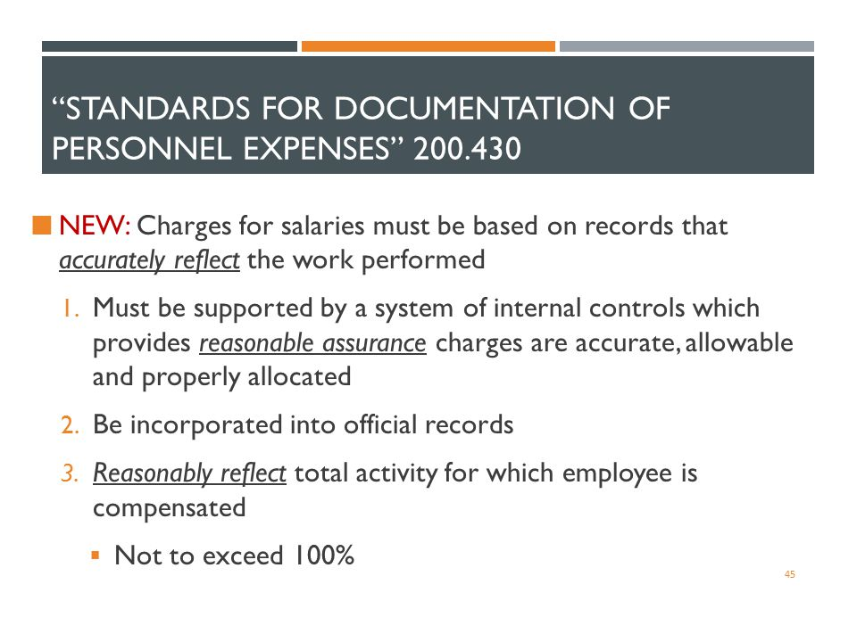 """STANDARDS FOR DOCUMENTATION OF PERSONNEL EXPENSES"" 200.430 NEW: Charges for salaries must be based on records that accurately reflect the work perfor"