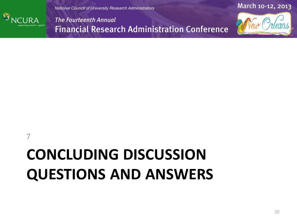 CONCLUDING DISCUSSION QUESTIONS AND ANSWERS 7 30
