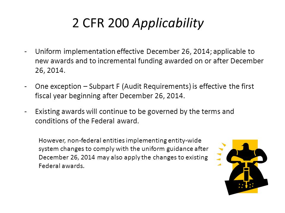 2 CFR 200 Purpose Establish uniform administrative requirements, cost principles, and audit requirements for federal awards to non-Federal entities.