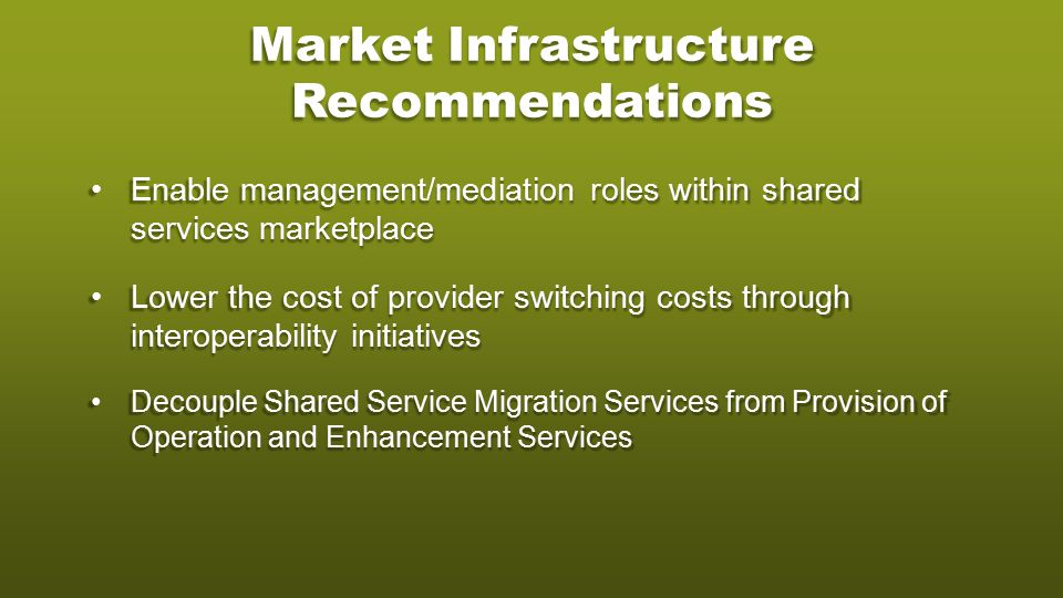 Market Infrastructure Recommendations Enable management/mediation roles within shared services marketplaceEnable management/mediation roles within shared services marketplace Lower the cost of provider switching costs through interoperability initiativesLower the cost of provider switching costs through interoperability initiatives Decouple Shared Service Migration Services from Provision of Operation and Enhancement ServicesDecouple Shared Service Migration Services from Provision of Operation and Enhancement Services