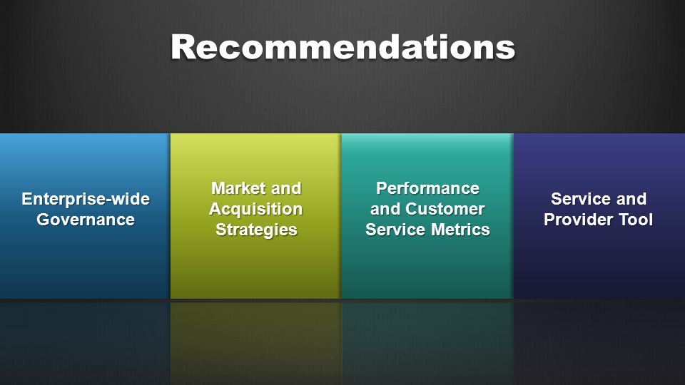 Recommendations Enterprise-wide Governance Market and Acquisition Strategies Performance and Customer Service Metrics Service and Provider Tool