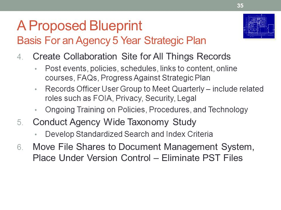 A Proposed Blueprint Basis For an Agency 5 Year Strategic Plan 4. Create Collaboration Site for All Things Records Post events, policies, schedules, l