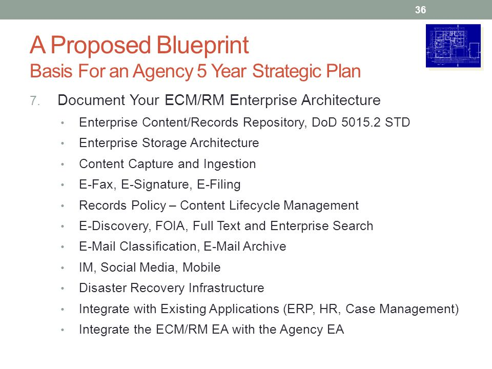A Proposed Blueprint Basis For an Agency 5 Year Strategic Plan 7.