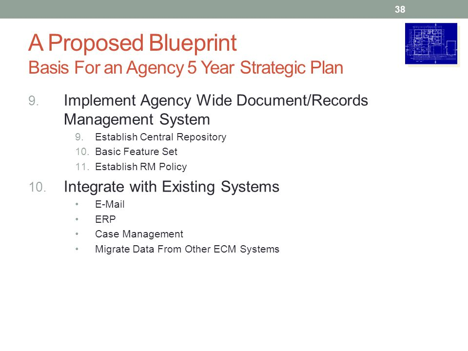A Proposed Blueprint Basis For an Agency 5 Year Strategic Plan 9. Implement Agency Wide Document/Records Management System 9.Establish Central Reposit