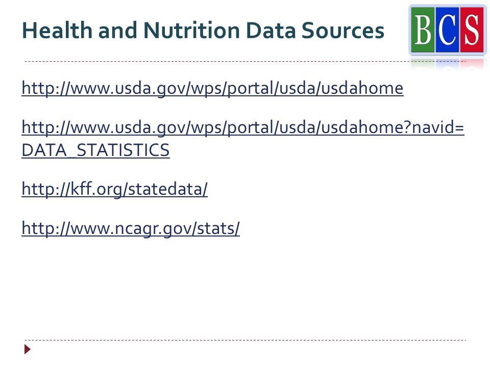 http://www.usda.gov/wps/portal/usda/usdahome http://www.usda.gov/wps/portal/usda/usdahome navid= DATA_STATISTICS http://kff.org/statedata/ http://www.ncagr.gov/stats/ Health and Nutrition Data Sources