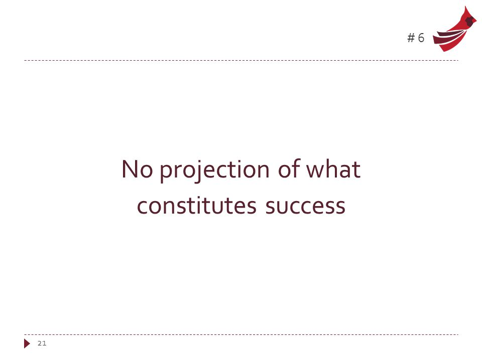 #6 No projection of what constitutes success 21