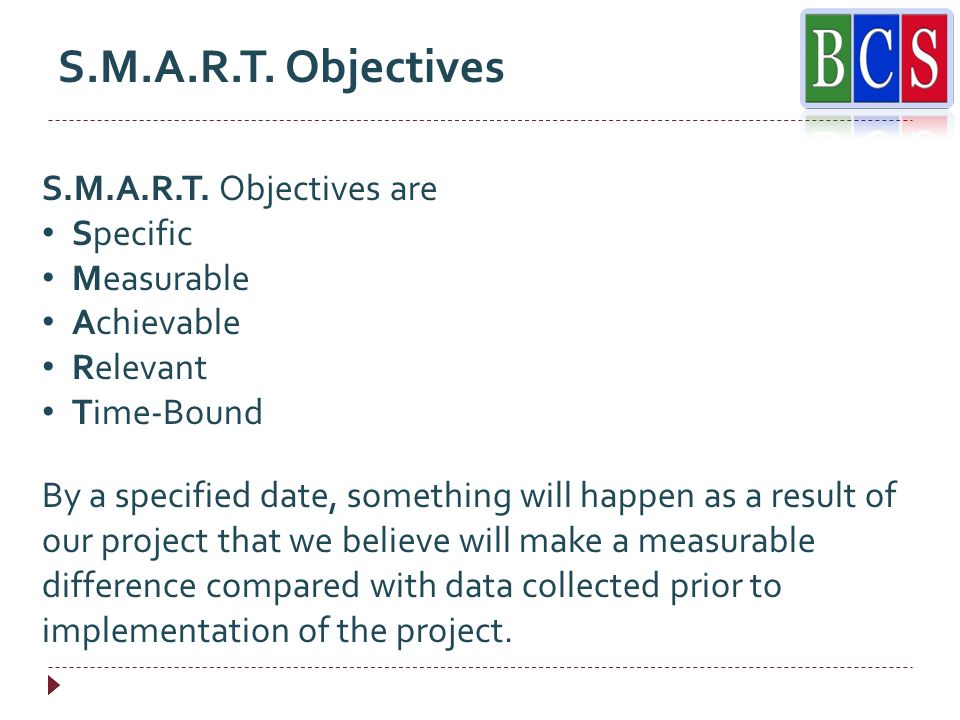 S.M.A.R.T. Objectives S.M.A.R.T.