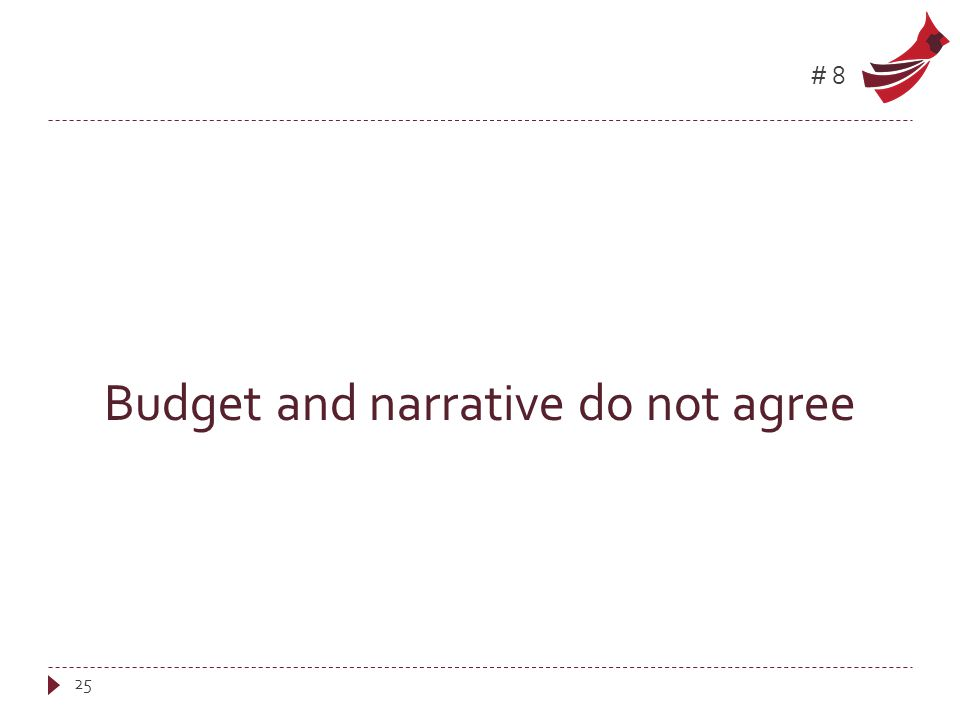 #8 Budget and narrative do not agree 25