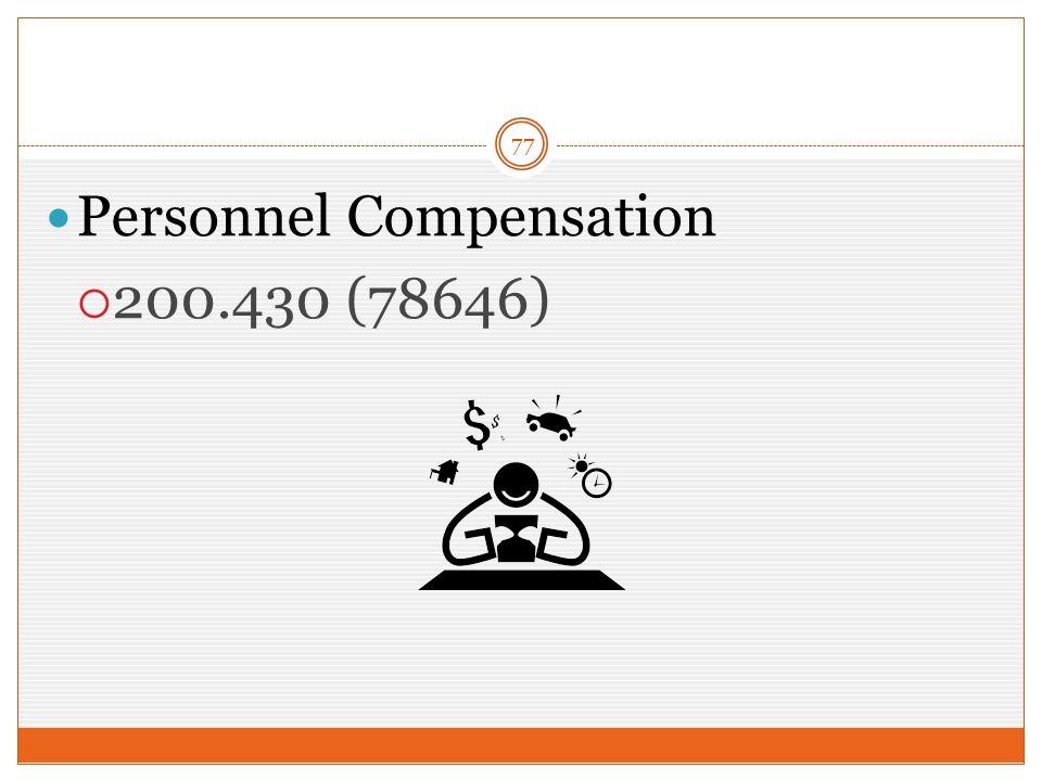 77 Personnel Compensation  200.430 (78646)
