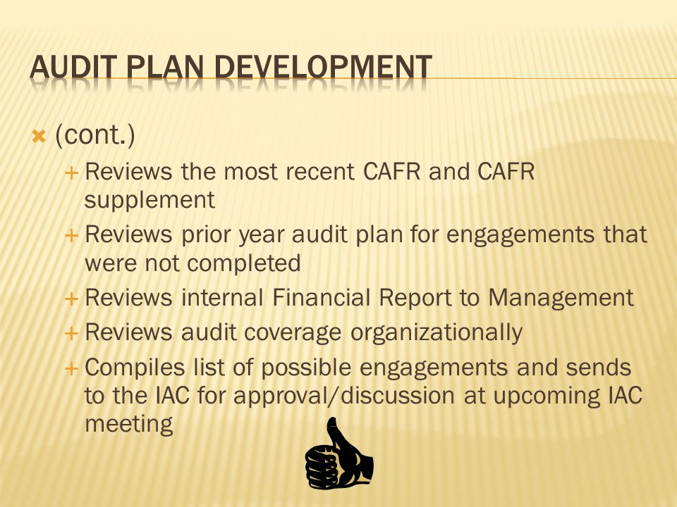  (cont.)  Reviews the most recent CAFR and CAFR supplement  Reviews prior year audit plan for engagements that were not completed  Reviews interna