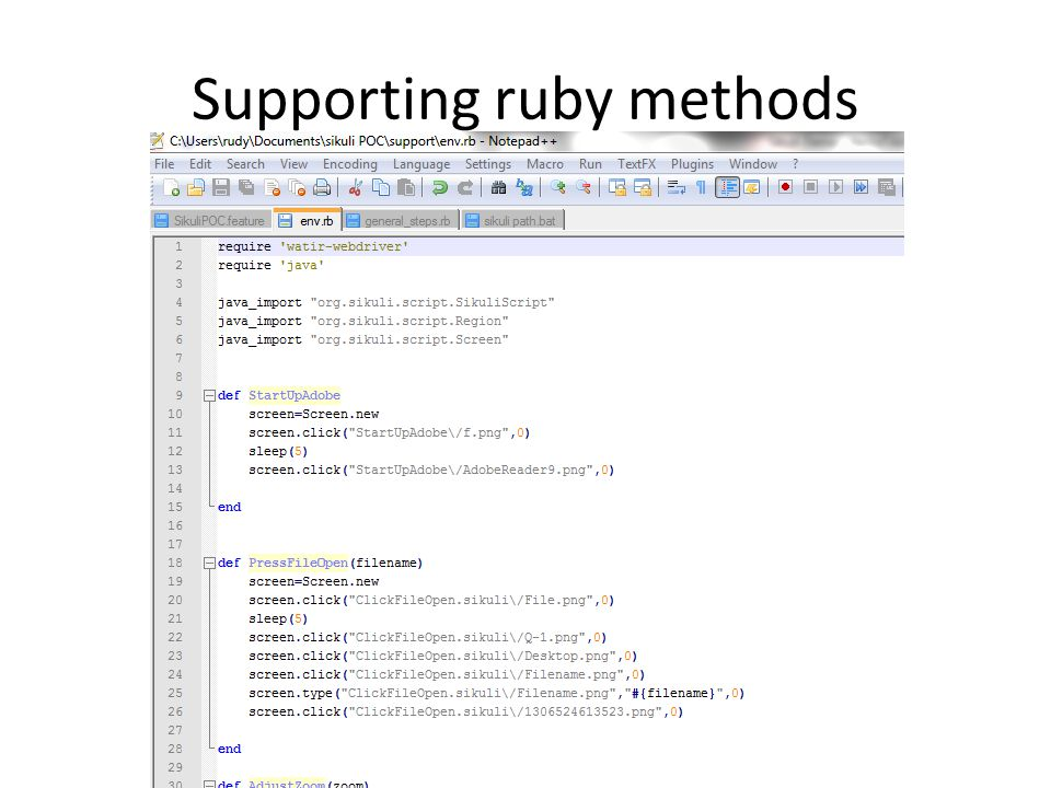 Supporting ruby methods