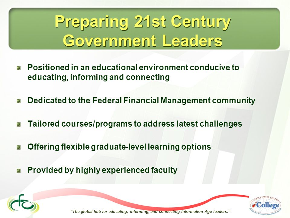 The global hub for educating, informing, and connecting Information Age leaders. Preparing 21st Century Government Leaders Positioned in an educational environment conducive to educating, informing and connecting Dedicated to the Federal Financial Management community Tailored courses/programs to address latest challenges Offering flexible graduate ‐ level learning options Provided by highly experienced faculty