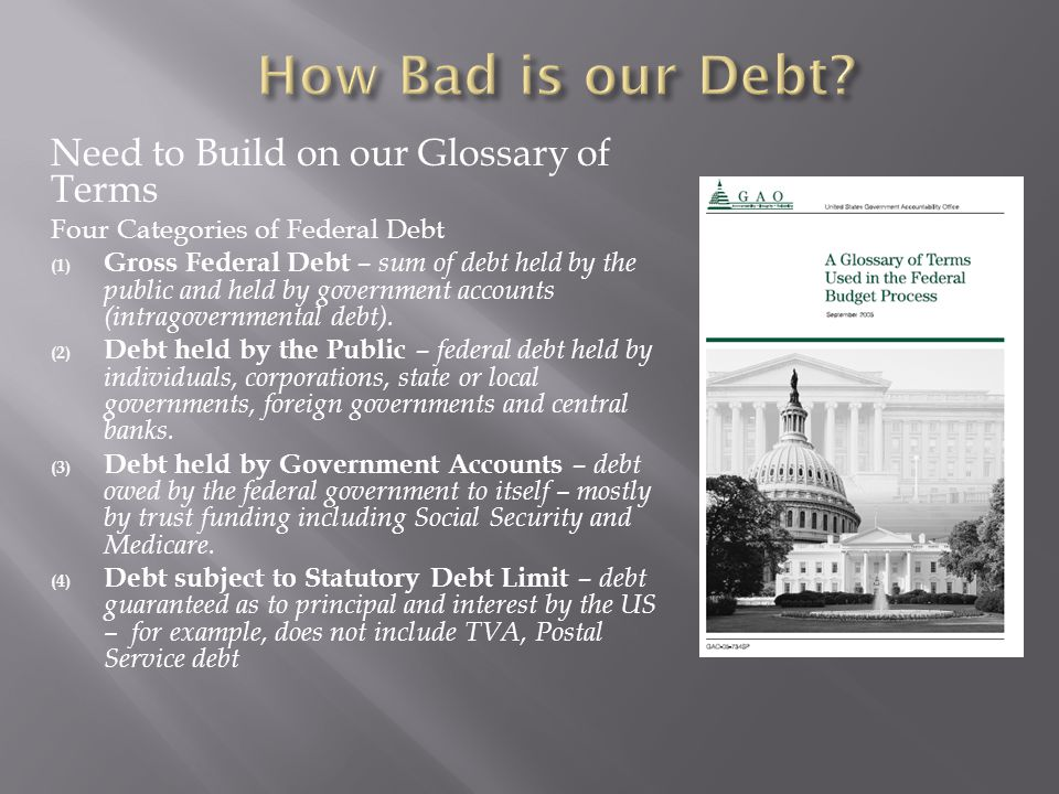 Need to Build on our Glossary of Terms Four Categories of Federal Debt (1) Gross Federal Debt – sum of debt held by the public and held by government accounts (intragovernmental debt).