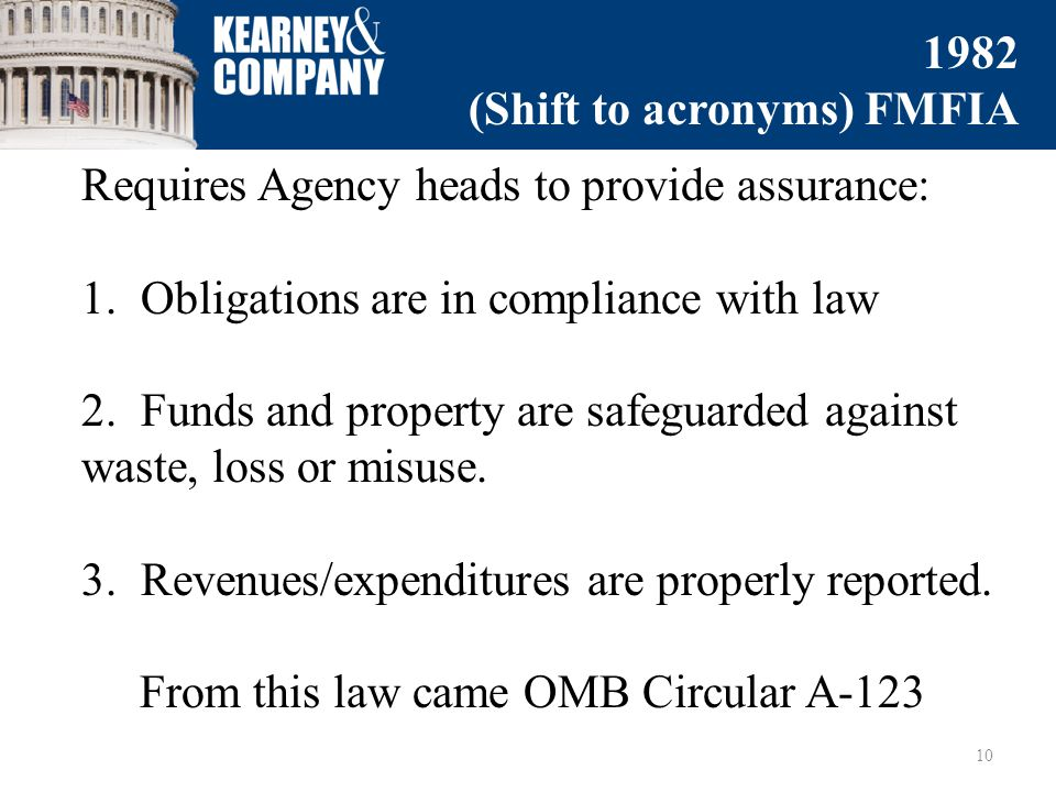 Requires Agency heads to provide assurance: 1. Obligations are in compliance with law 2.