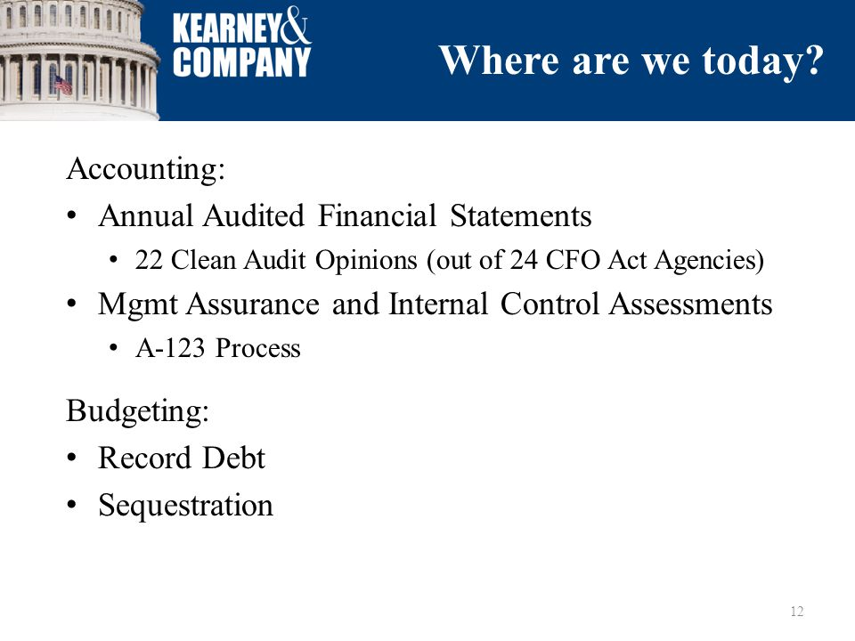Accounting: Annual Audited Financial Statements 22 Clean Audit Opinions (out of 24 CFO Act Agencies) Mgmt Assurance and Internal Control Assessments A-123 Process Budgeting: Record Debt Sequestration 12 Where are we today