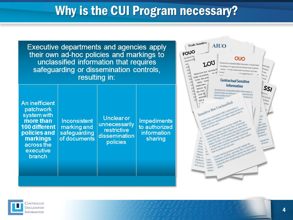 Why is the CUI Program necessary? 4