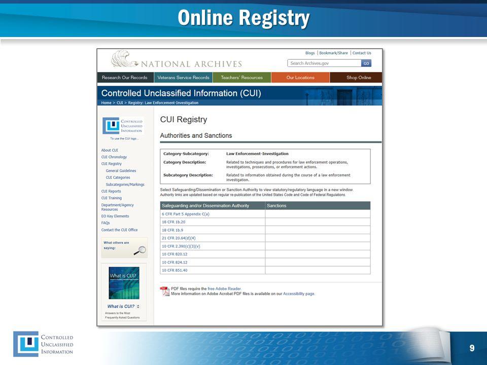 Online Registry 9