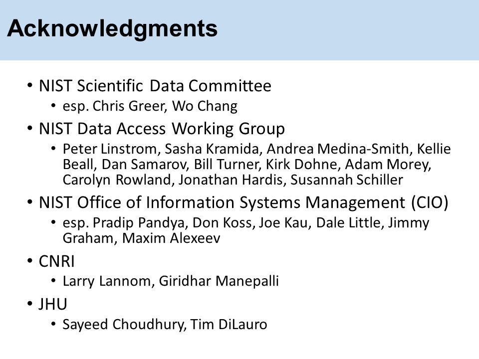 Acknowledgments NIST Scientific Data Committee esp. Chris Greer, Wo Chang NIST Data Access Working Group Peter Linstrom, Sasha Kramida, Andrea Medina-