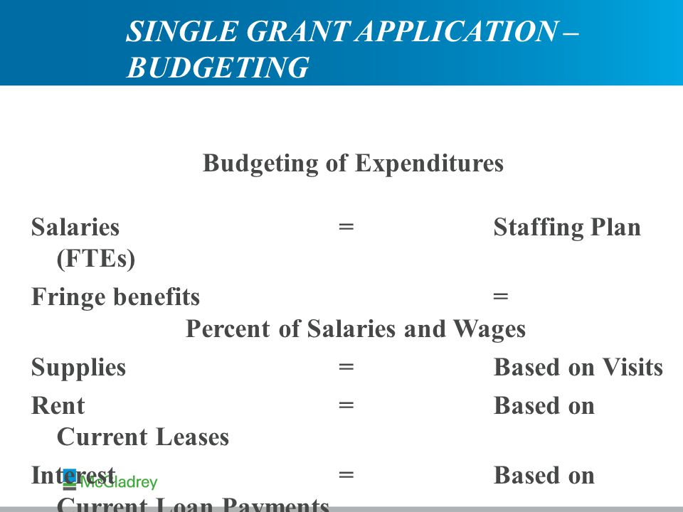 Budgeting of Expenditures Salaries=Staffing Plan (FTEs) Fringe benefits= Percent of Salaries and Wages Supplies=Based on Visits Rent =Based on Current Leases Interest= Based on Current Loan Payments SINGLE GRANT APPLICATION – BUDGETING