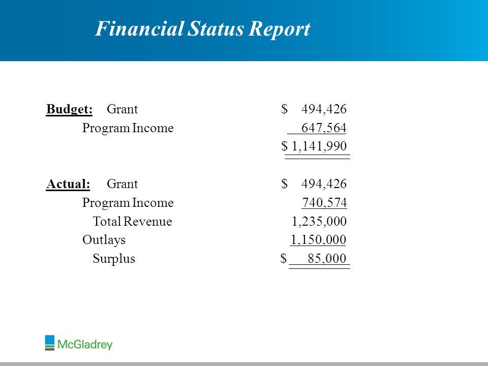 Budget:Grant $ 494,426 Program Income 647,564 $ 1,141,990 Actual:Grant $ 494,426 Program Income 740,574 Total Revenue 1,235,000 Outlays 1,150,000 Surplus $ 85,000 Financial Status Report
