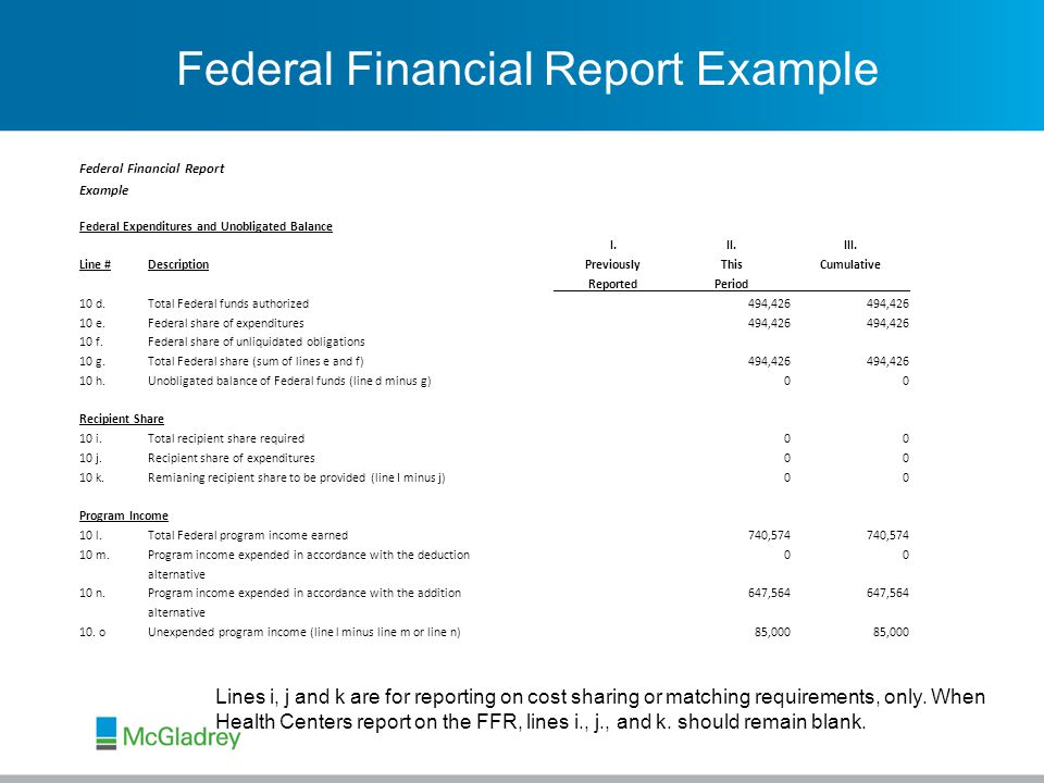 Federal Financial Report Example Federal Financial Report Example Federal Expenditures and Unobligated Balance I.II.III.
