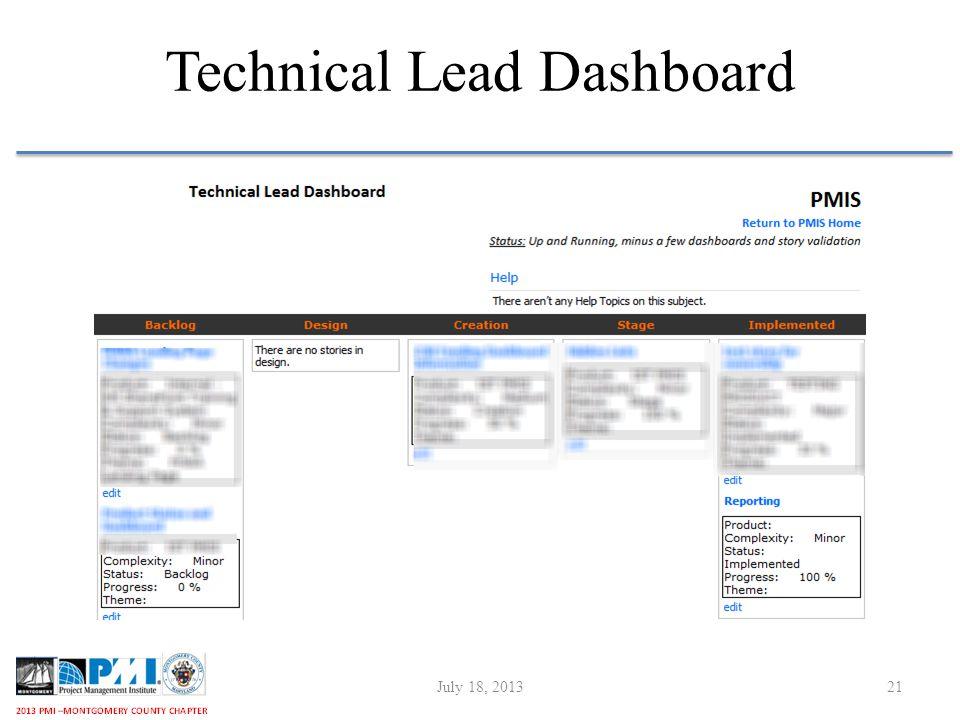 Technical Lead Dashboard July 18, 201321
