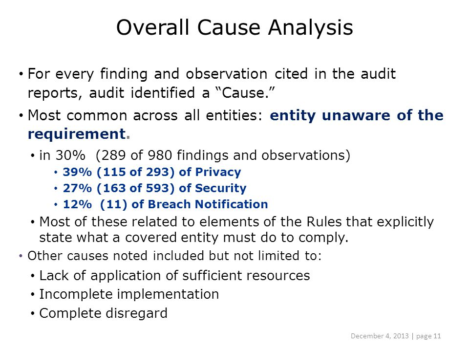Overall Cause Analysis For every finding and observation cited in the audit reports, audit identified a Cause. Most common across all entities: entity unaware of the requirement.