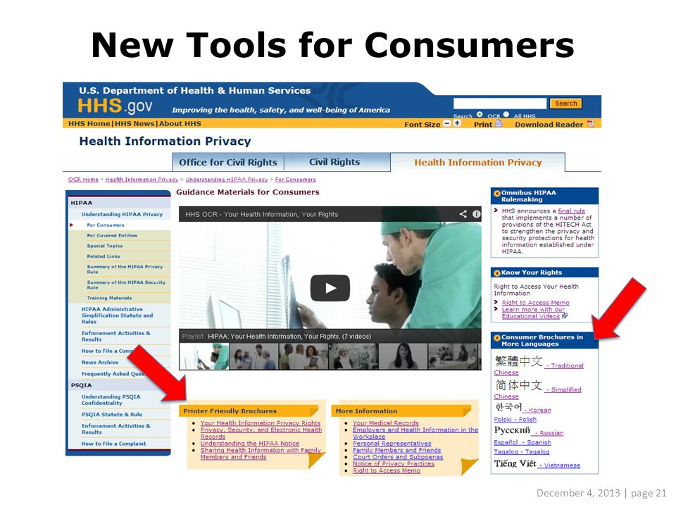 New Tools for Consumers December 4, 2013 | page 21
