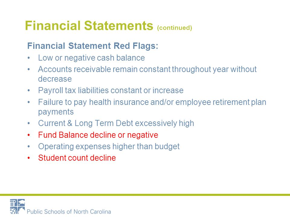 Financial Statements (continued) Financial Statement Red Flags: Low or negative cash balance Accounts receivable remain constant throughout year without decrease Payroll tax liabilities constant or increase Failure to pay health insurance and/or employee retirement plan payments Current & Long Term Debt excessively high Fund Balance decline or negative Operating expenses higher than budget Student count decline