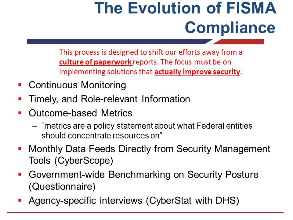 "The Evolution of FISMA Compliance  Continuous Monitoring  Timely, and Role-relevant Information  Outcome-based Metrics –""metrics are a policy state"