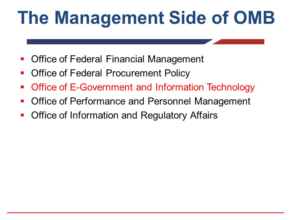 The Management Side of OMB  Office of Federal Financial Management  Office of Federal Procurement Policy  Office of E-Government and Information Te