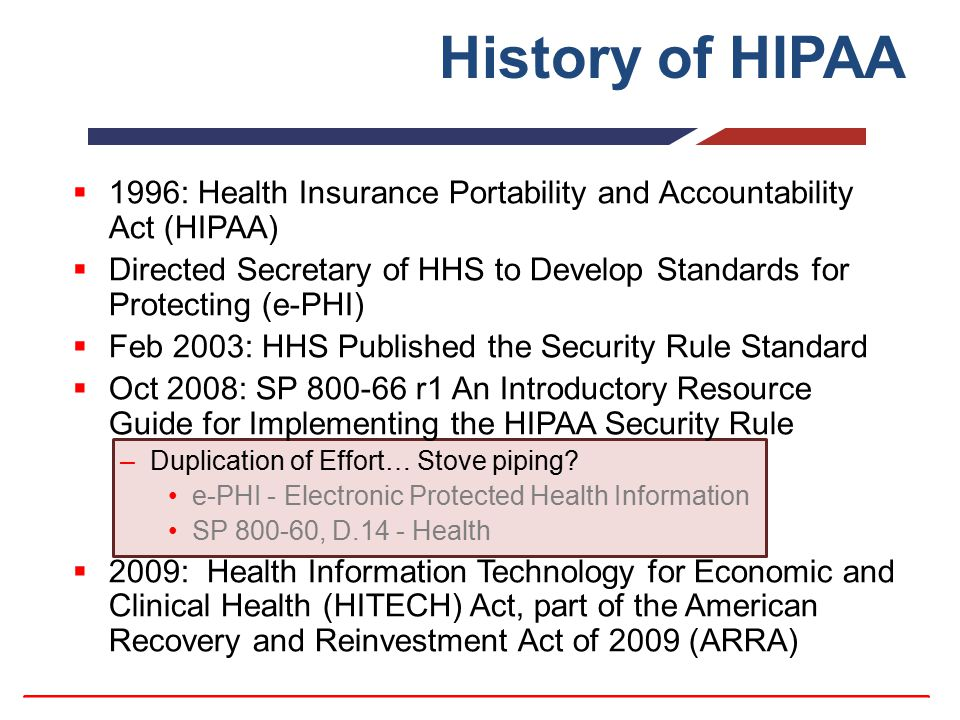 History of HIPAA  1996: Health Insurance Portability and Accountability Act (HIPAA)  Directed Secretary of HHS to Develop Standards for Protecting (