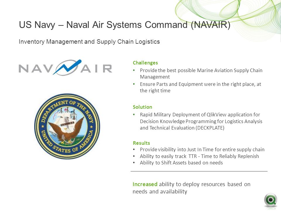 US Navy – Naval Air Systems Command (NAVAIR) Challenges Provide the best possible Marine Aviation Supply Chain Management Ensure Parts and Equipment were in the right place, at the right time Solution Rapid Military Deployment of QlikView application for Decision Knowledge Programming for Logistics Analysis and Technical Evaluation (DECKPLATE) Results Provide visibility into Just In Time for entire supply chain Ability to easily track TTR - Time to Reliably Replenish Ability to Shift Assets based on needs Inventory Management and Supply Chain Logistics Increased ability to deploy resources based on needs and availability