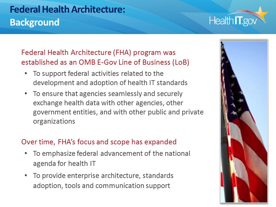 Federal Health Architecture: Background Federal Health Architecture (FHA) program was established as an OMB E-Gov Line of Business (LoB) To support federal activities related to the development and adoption of health IT standards To ensure that agencies seamlessly and securely exchange health data with other agencies, other government entities, and with other public and private organizations Over time, FHA's focus and scope has expanded To emphasize federal advancement of the national agenda for health IT To provide enterprise architecture, standards adoption, tools and communication support