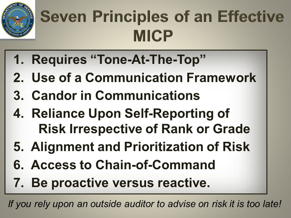 Seven Principles of an Effective MICP 1.Requires Tone-At-The-Top 2.