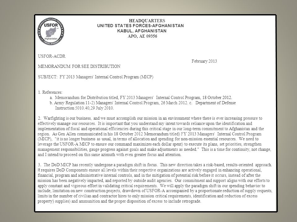 15 USFOR-ACDR February 2013 MEMORANDUM FOR SEE DISTRIBUTION SUBJECT: FY 2013 Managers Internal Control Program (MICP) 1.