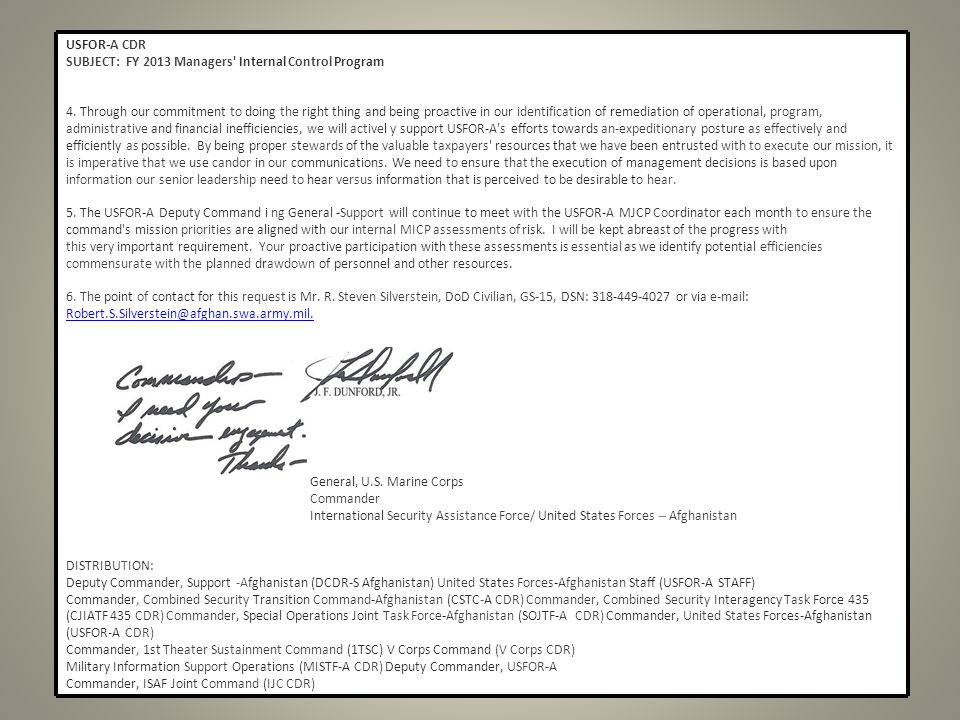 USFOR-A CDR SUBJECT: FY 2013 Managers Internal Control Program 4.