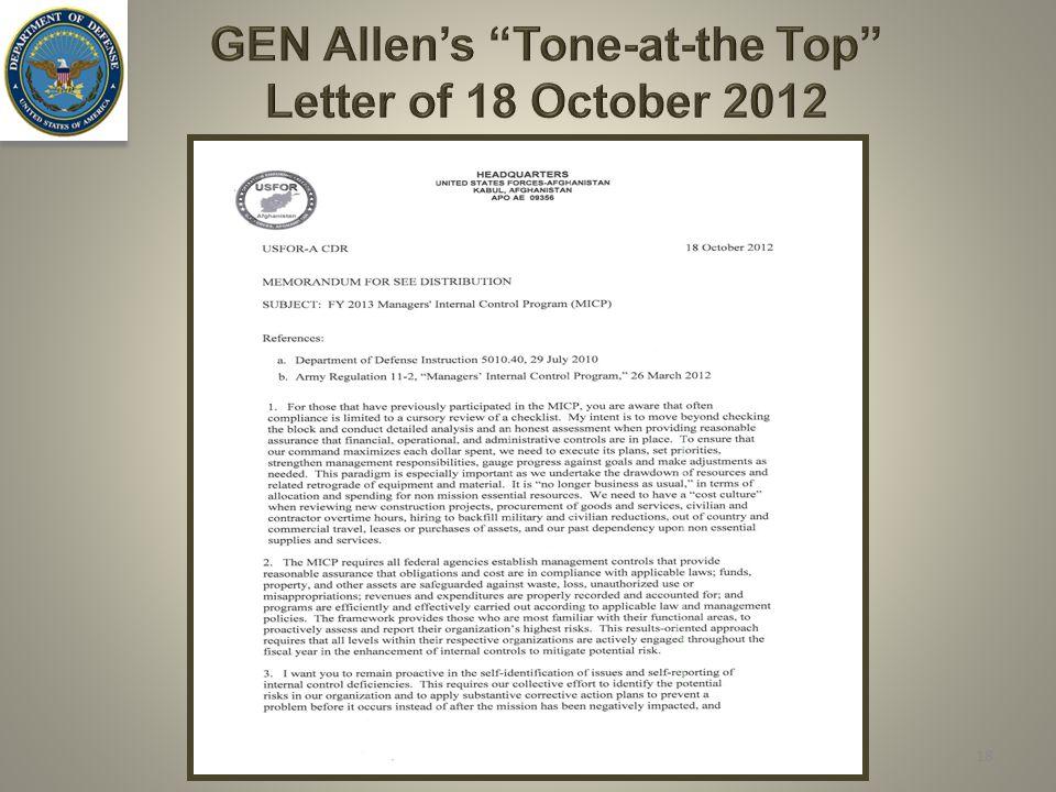 GEN Allen's Tone-at-the Top Letter of 18 October 2012 18