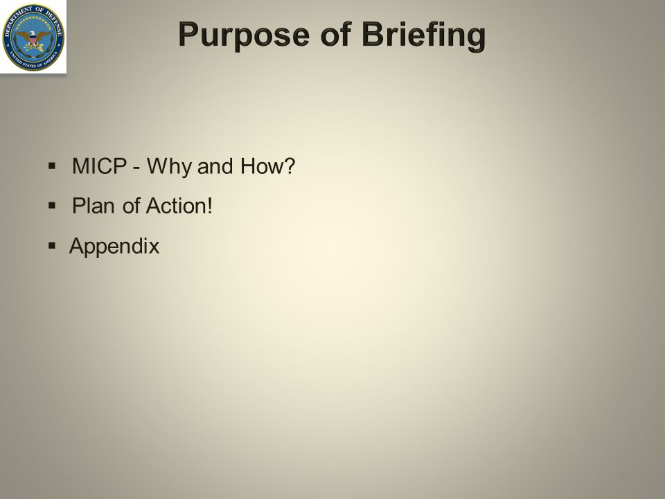  MICP - Why and How?  Plan of Action!  Appendix Purpose of Briefing 2