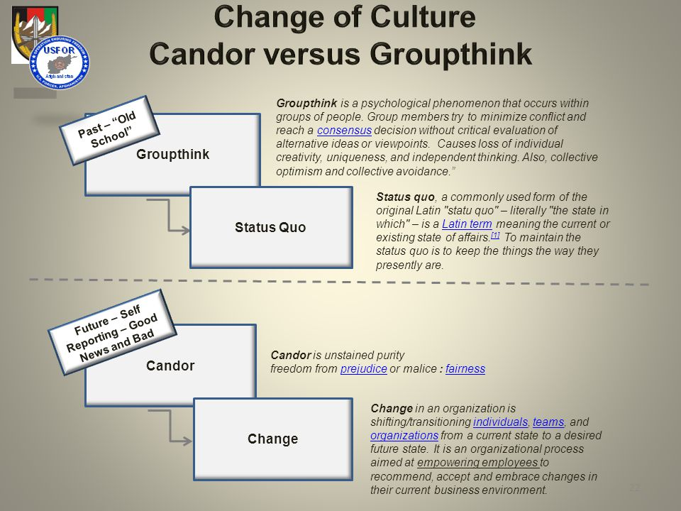 Change of Culture Candor versus Groupthink Groupthink Candor Groupthink is a psychological phenomenon that occurs within groups of people.