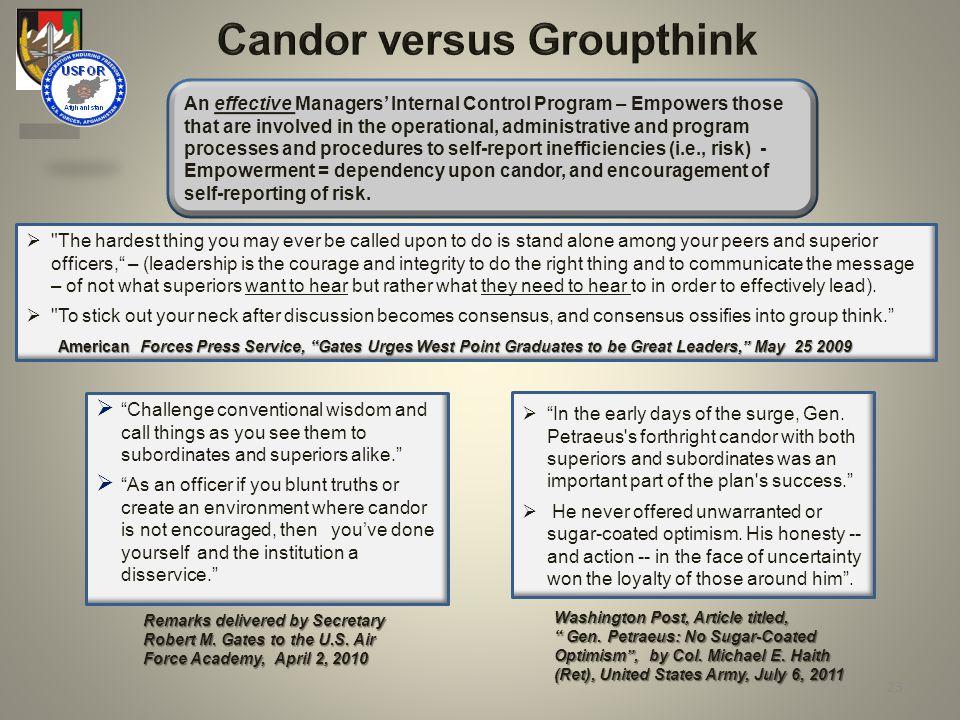 Candor versus Groupthink Remarks delivered by Secretary Robert M.