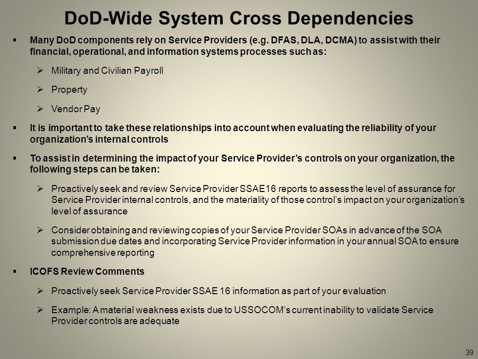 39 DoD-Wide System Cross Dependencies  Many DoD components rely on Service Providers (e.g.