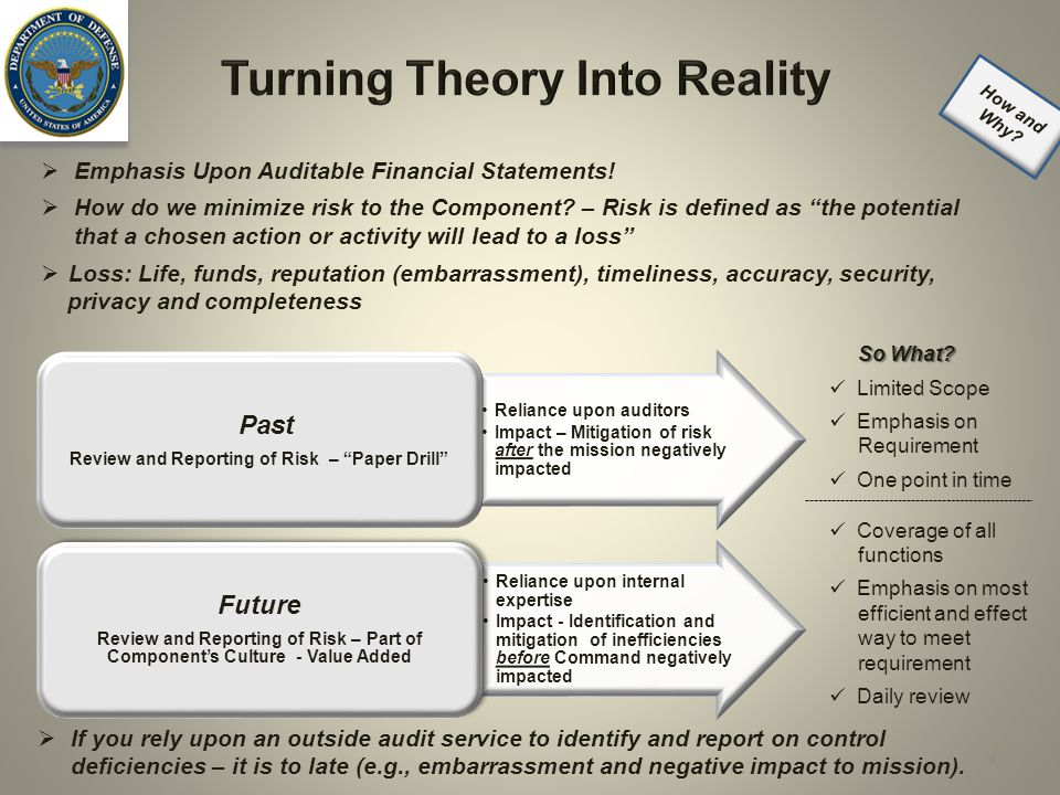 Turning Theory Into Reality Reliance upon auditors Impact – Mitigation of risk after the mission negatively impacted Past Review and Reporting of Risk – Paper Drill Reliance upon internal expertise Impact - Identification and mitigation of inefficiencies before Command negatively impacted Future Review and Reporting of Risk – Part of Component's Culture - Value Added So What.
