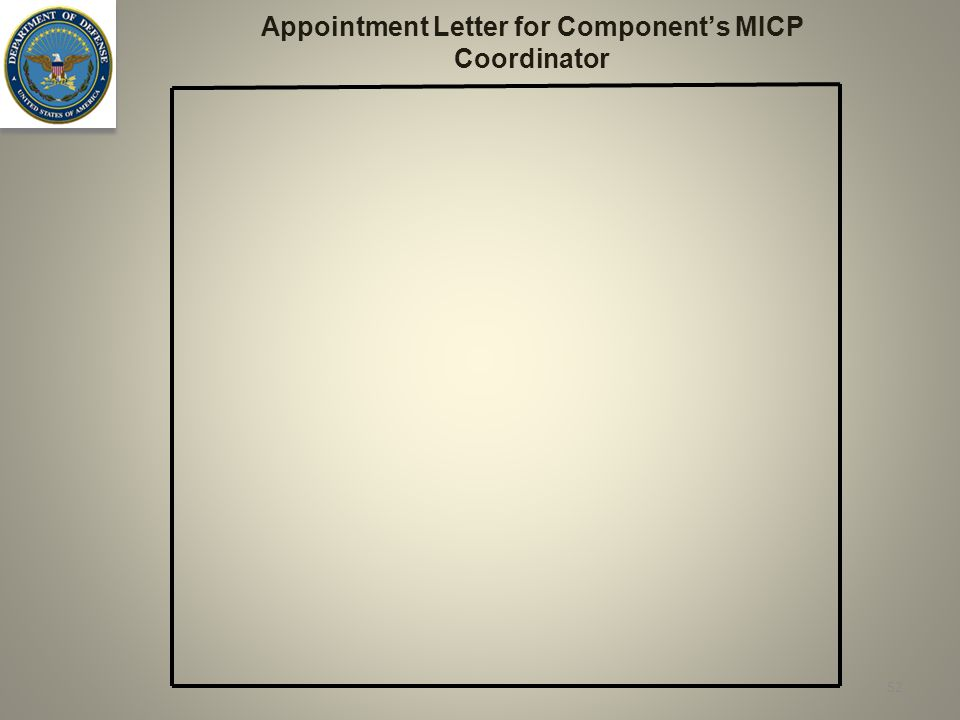 52 Appointment Letter for Component's MICP Coordinator