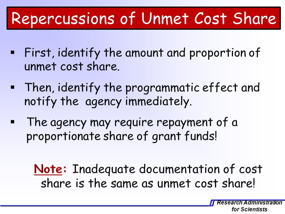 Research Administration for Scientists Repercussions of Unmet Cost Share