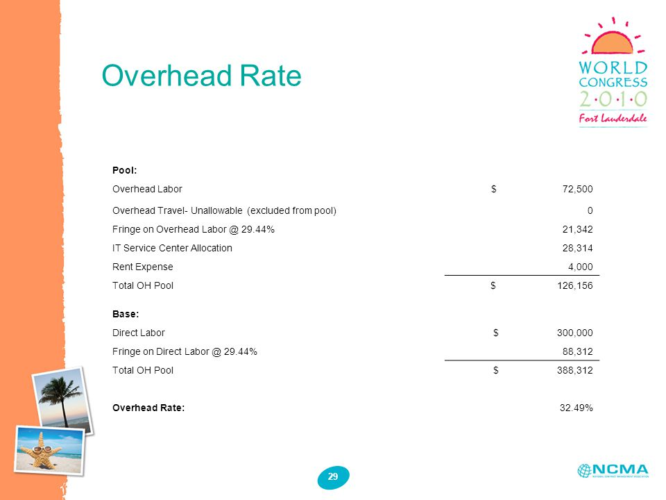 Overhead Rate 29 Pool: Overhead Labor $ 72,500 Overhead Travel- Unallowable (excluded from pool) 0 Fringe on Overhead Labor @ 29.44% 21,342 IT Service Center Allocation28,314 Rent Expense 4,000 Total OH Pool $ 126,156 Base: Direct Labor $ 300,000 Fringe on Direct Labor @ 29.44% 88,312 Total OH Pool $ 388,312 Overhead Rate:32.49%