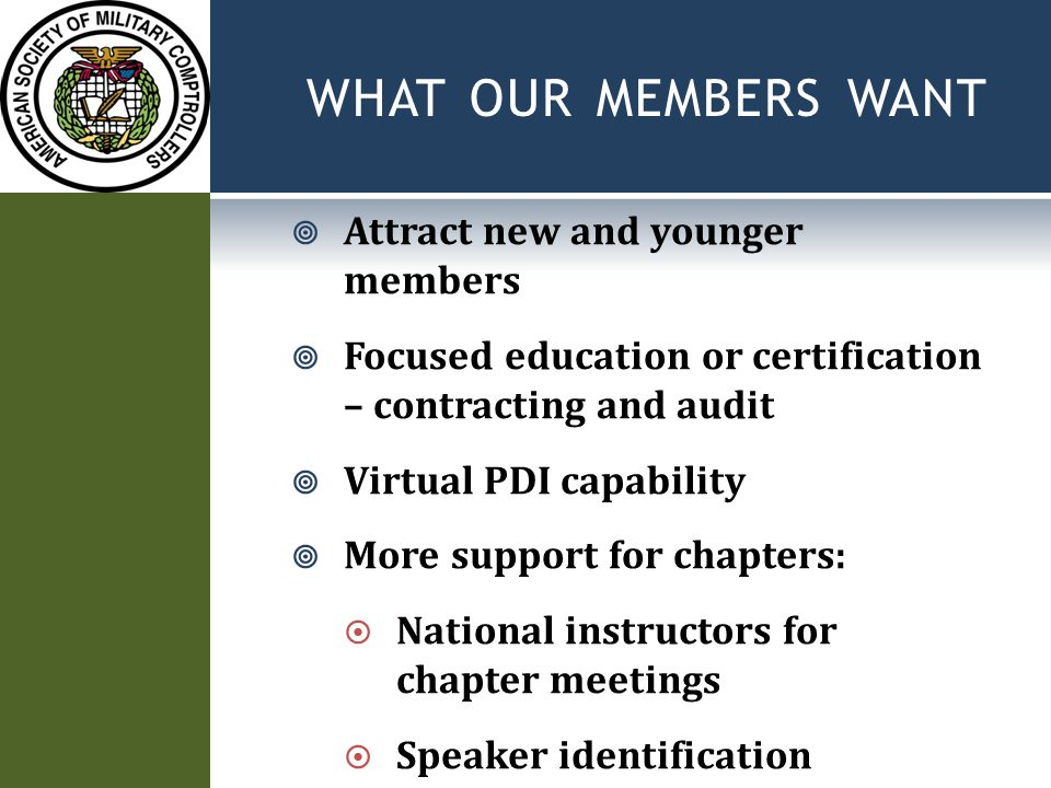 WHAT OUR MEMBERS WANT  Attract new and younger members  Focused education or certification – contracting and audit  Virtual PDI capability  More support for chapters:  National instructors for chapter meetings  Speaker identification
